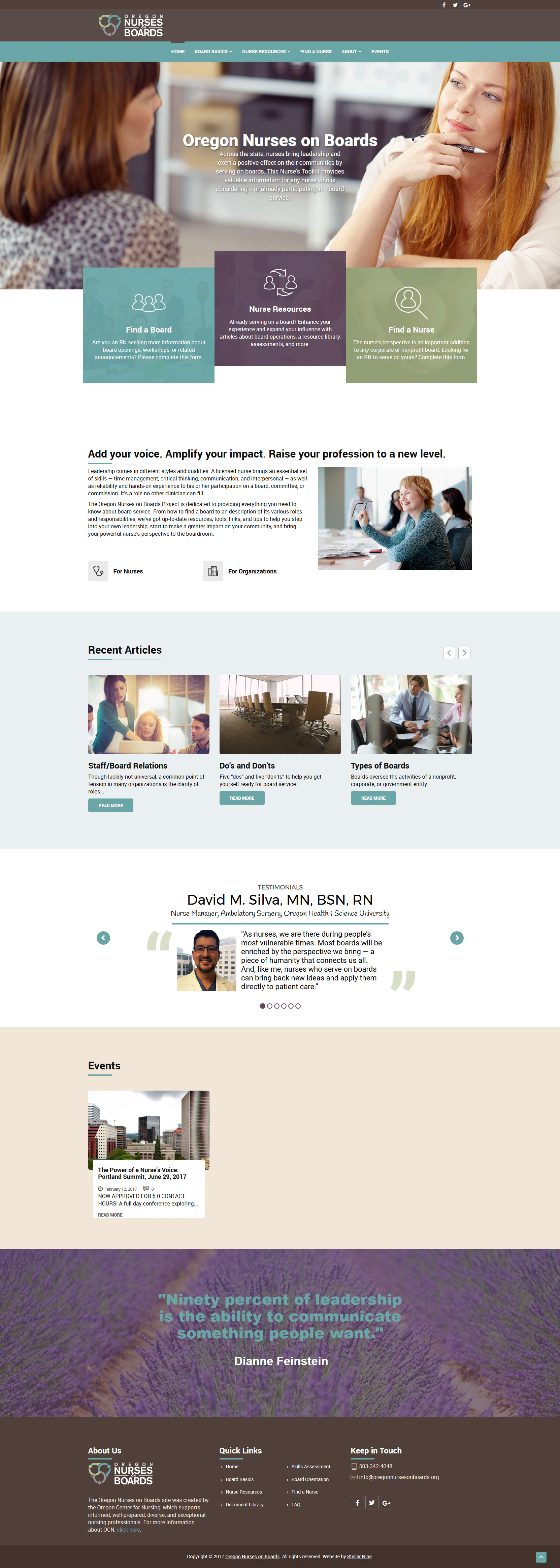 Responsive Website Design for the Oregon Nurses on Boards