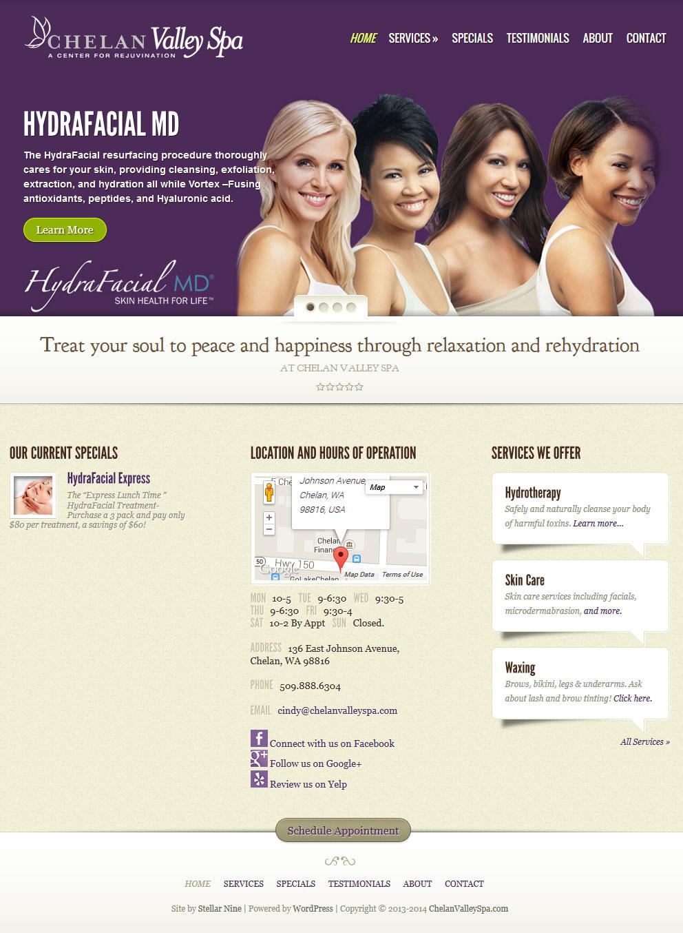 chelan valley spa website redesign