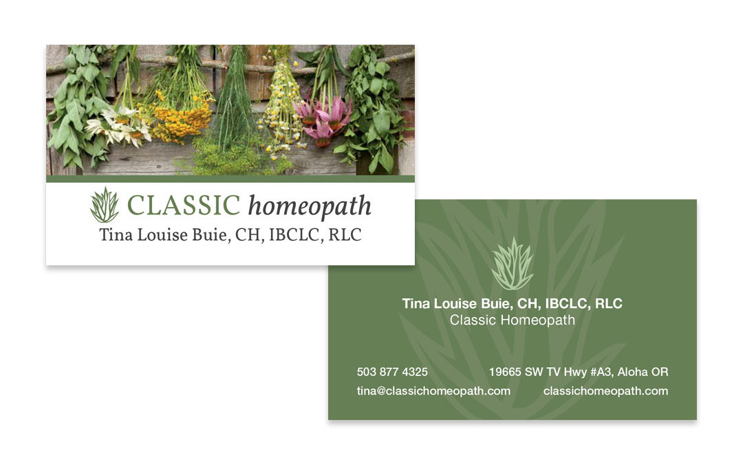 Business Card Design Horizontal Homeopath