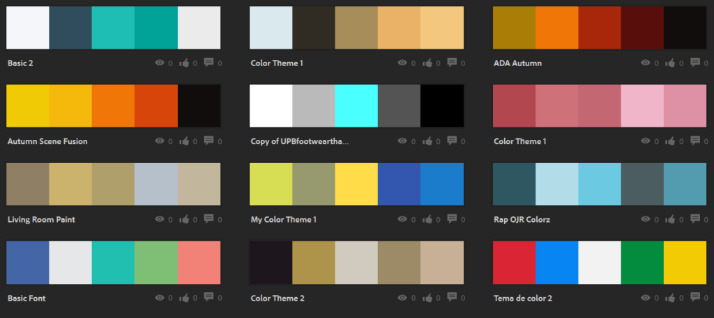 Color schemes from Adobe Kuler