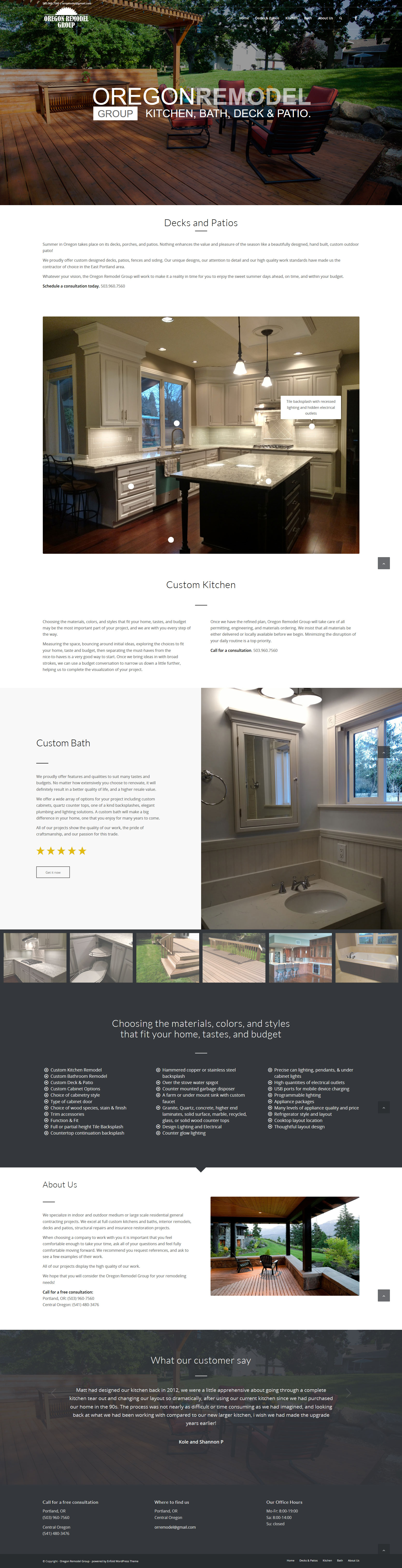 One Page Website Design for the Oregon Remodel Group